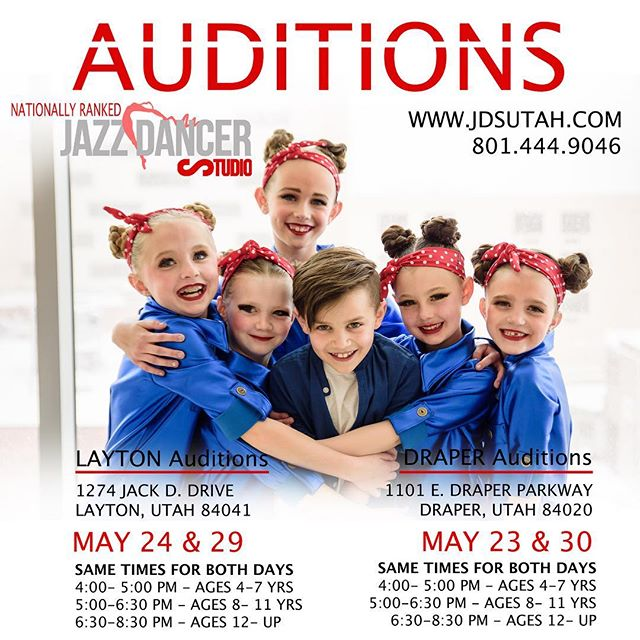 Layton's workshop starts today!! Register online www.jdsutah.com or just come to your audition workshop time and we will register you at the door!!