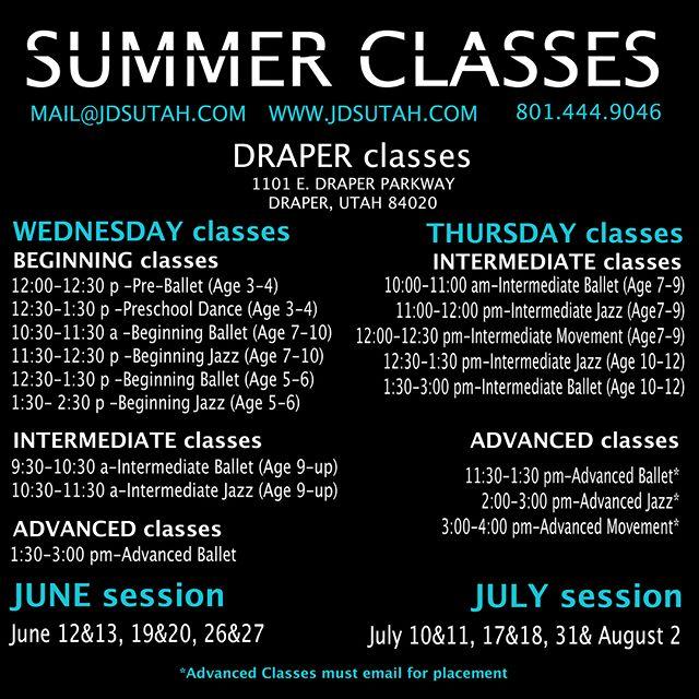 SWIPE—  Summer Classes!!! Get registered TODAY!!! #JDSutah #summertechnique #summerclasses #utahdancestudio #draper #layton