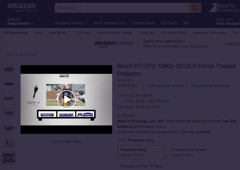 Video : Shown in Amazon listing for BenQ projector