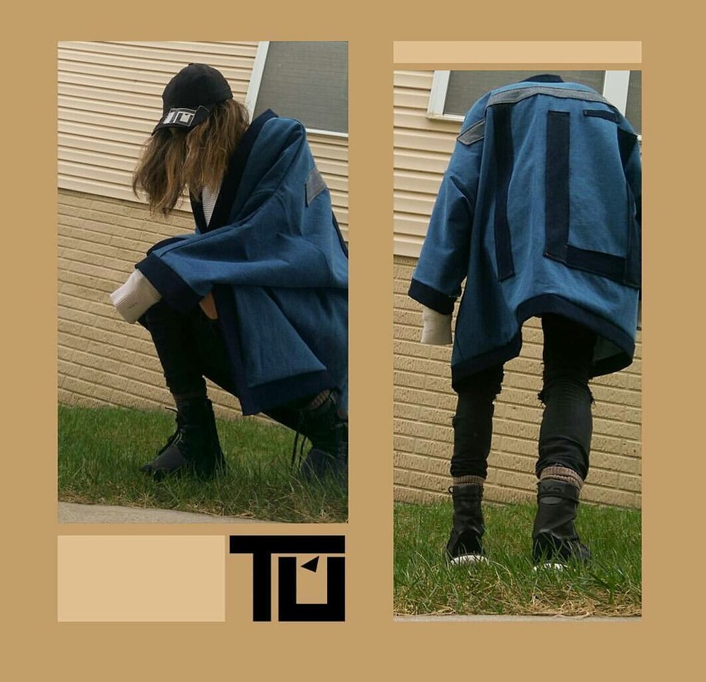 Denim patchwork kimono made by Tú