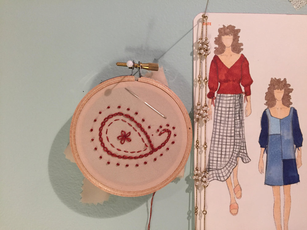 Sample embroidery and SS18 sketches