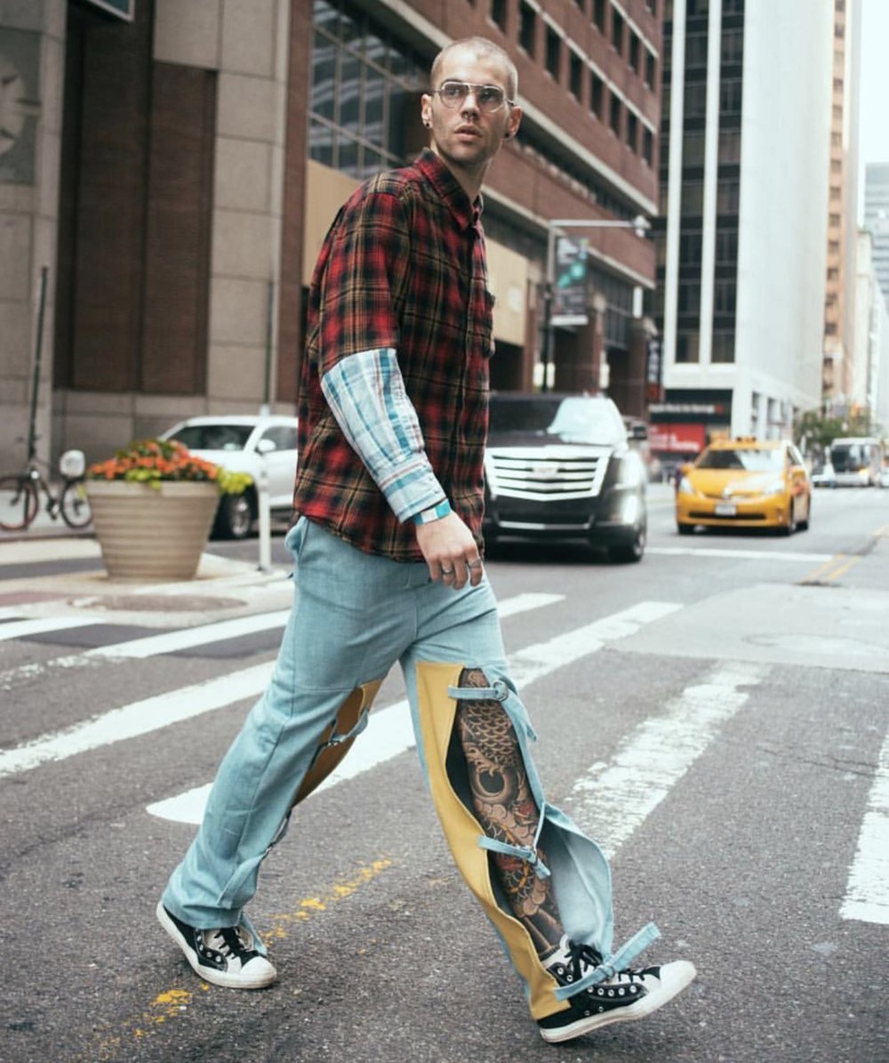 RED model Anthony Flora wearing Christopher Di Giorgio SS18 Pants during NYFW.