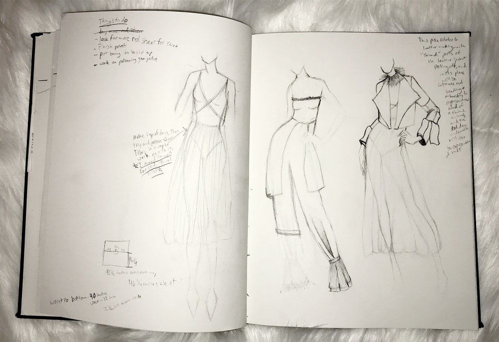 The designer's sketchbook, with a more detailed look at the creation process of the red sheer dress.