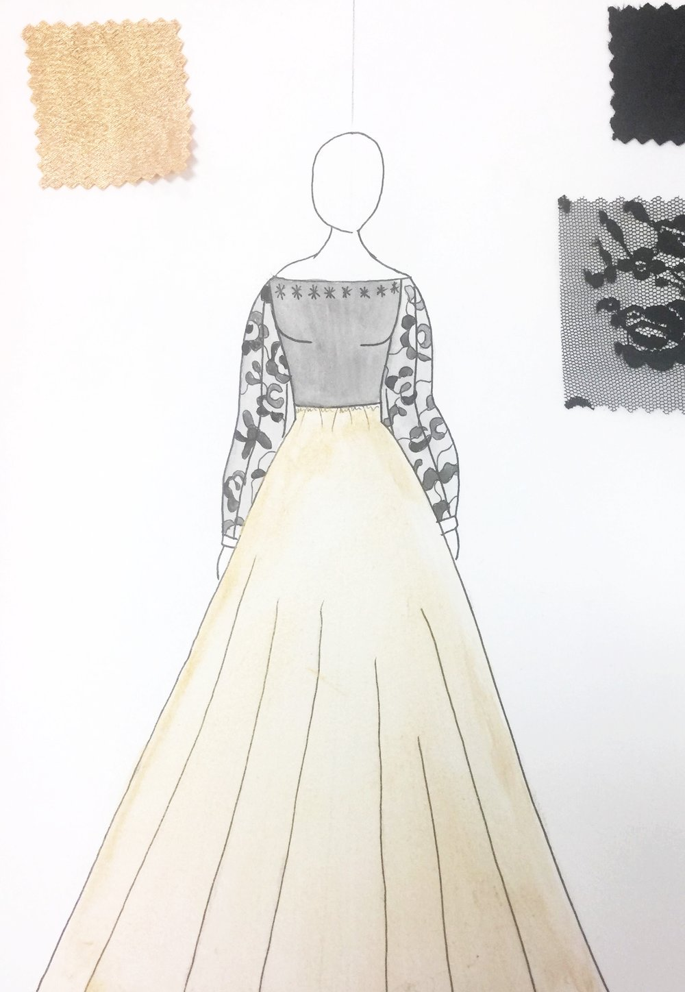 Sketch of finale piece for Katelyn and Gracie's upcoming collection.