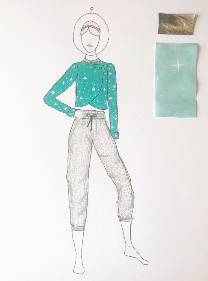 "Sketch featuring one of Anna's custom prints on the ""space commander-esque"" jacket. The pants, which Anna refers to as ""Space Joggers"", and will be made out of a shimmery reversible knit."