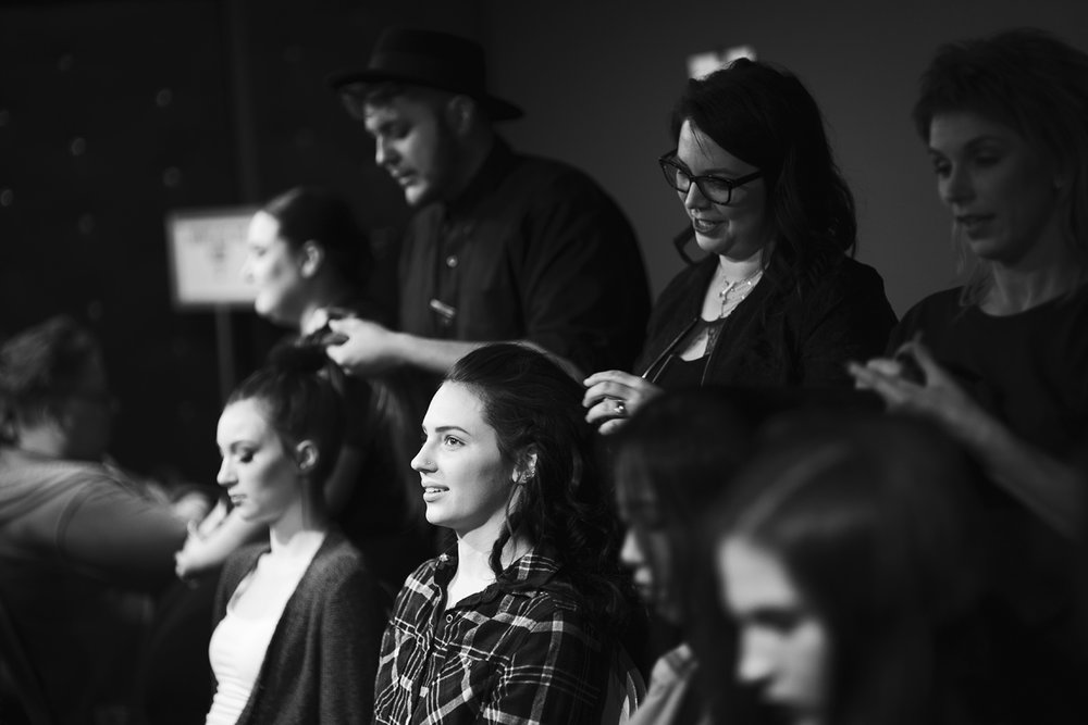 Omaha Fashion Week Beauty Alliance in action, February 2018. Photo by Kathy Rae