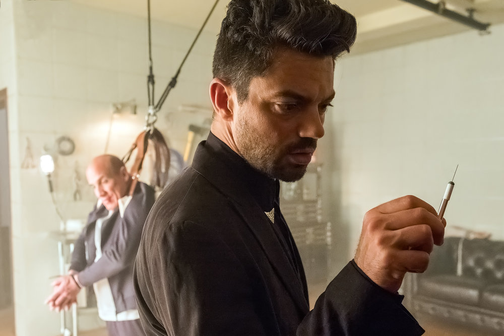 Dominic Cooper as Jesse Custer, Paul Ben Victor as Victor Kruglov. Photo: Alfonso Bresciani/AMC/Sony Pictures Television