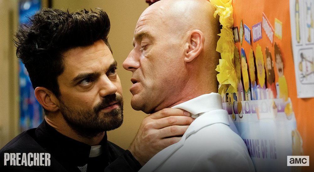 Dominic Cooper as Jesse Custer, Pip Torrens as Herr Starr. Photo: Alfonso Bresciani/AMC/Sony Pictures Television