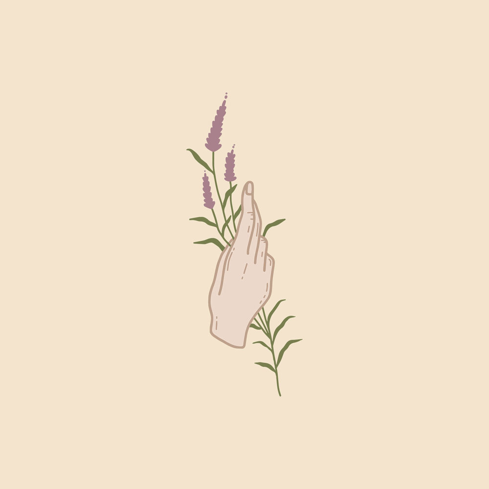 hand holding wildflower logo