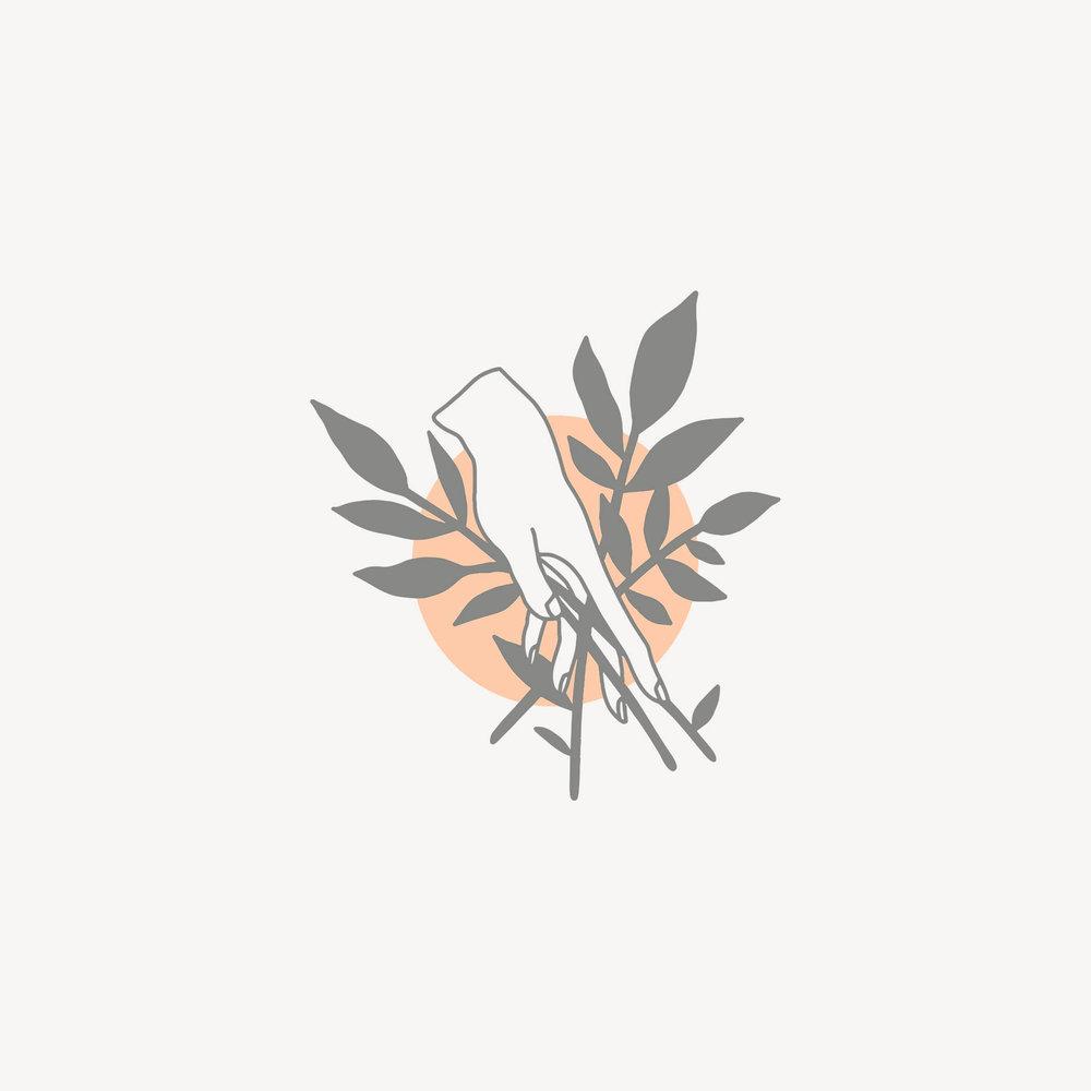 hand and leaf illustration icon