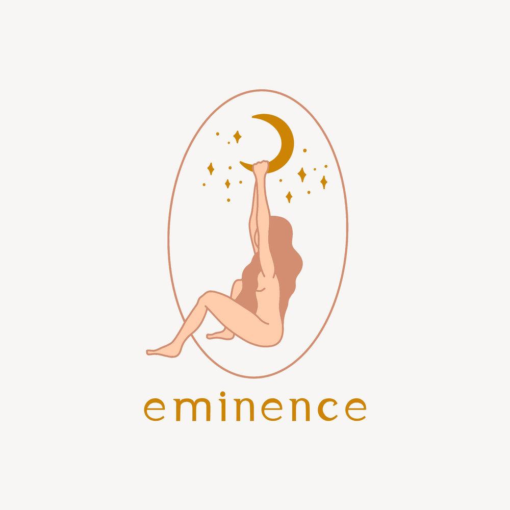 oval logo. feminine branding. moon stars logo