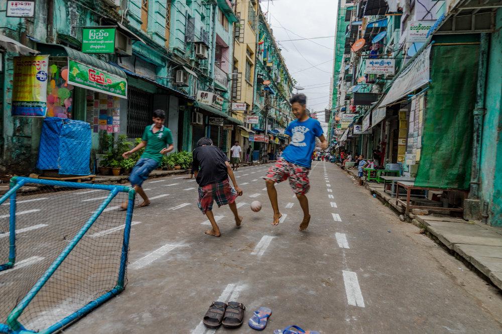 Street soccer in Yangon
