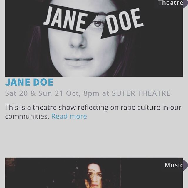 Jane Doe is also going to @nelson_arts_festival 20-21 October! Snap from website also features the amazing @julia_m_deans . There's some great artists at this festival! ... @karinlindsay @zanettiprod @_elbishop #endrapeculture #metoo #metoomovement #feminism #feministtheatre #stoprapeculture #wearejanedoe #theatre #janedoeplay #zanettiproductions @rubyreirei #sutertheatre #nelsonartsfestival #nelsontheatre