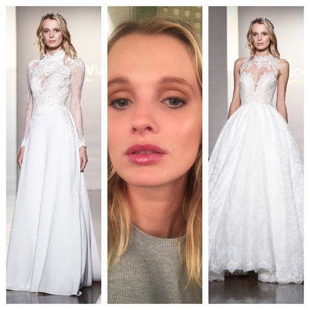 My gorgeous model from NY Bridal Fashion Week #Pronovias show this past weekend. Used #artisbrush for the first time and I am hooked! Photos from #WWD #aveda #Fawn #bridalfashionweek #flawlessskin #patricereneebeauty