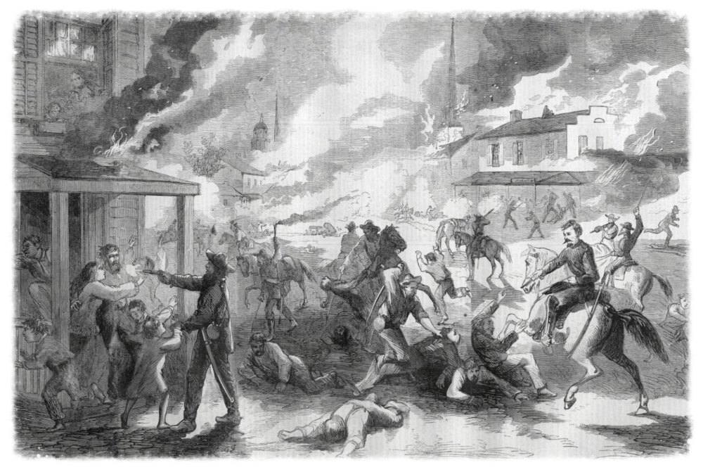 "This illustration of ""The Destruction of Lawrence, Kansas and the Massacre of its Citizens,"" originally printed in Harper's Weekly, September of 1863."