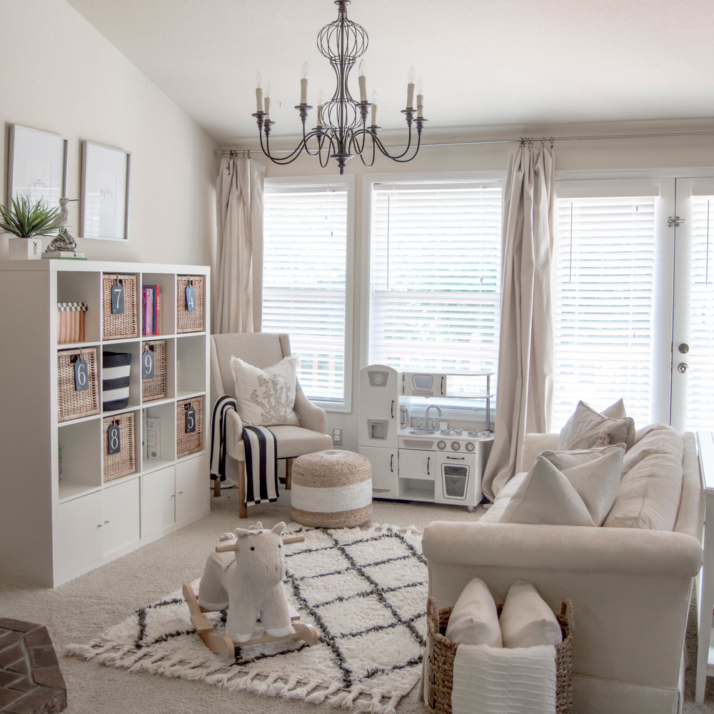 Coastal neutral playroom house of five for Living room 10 play