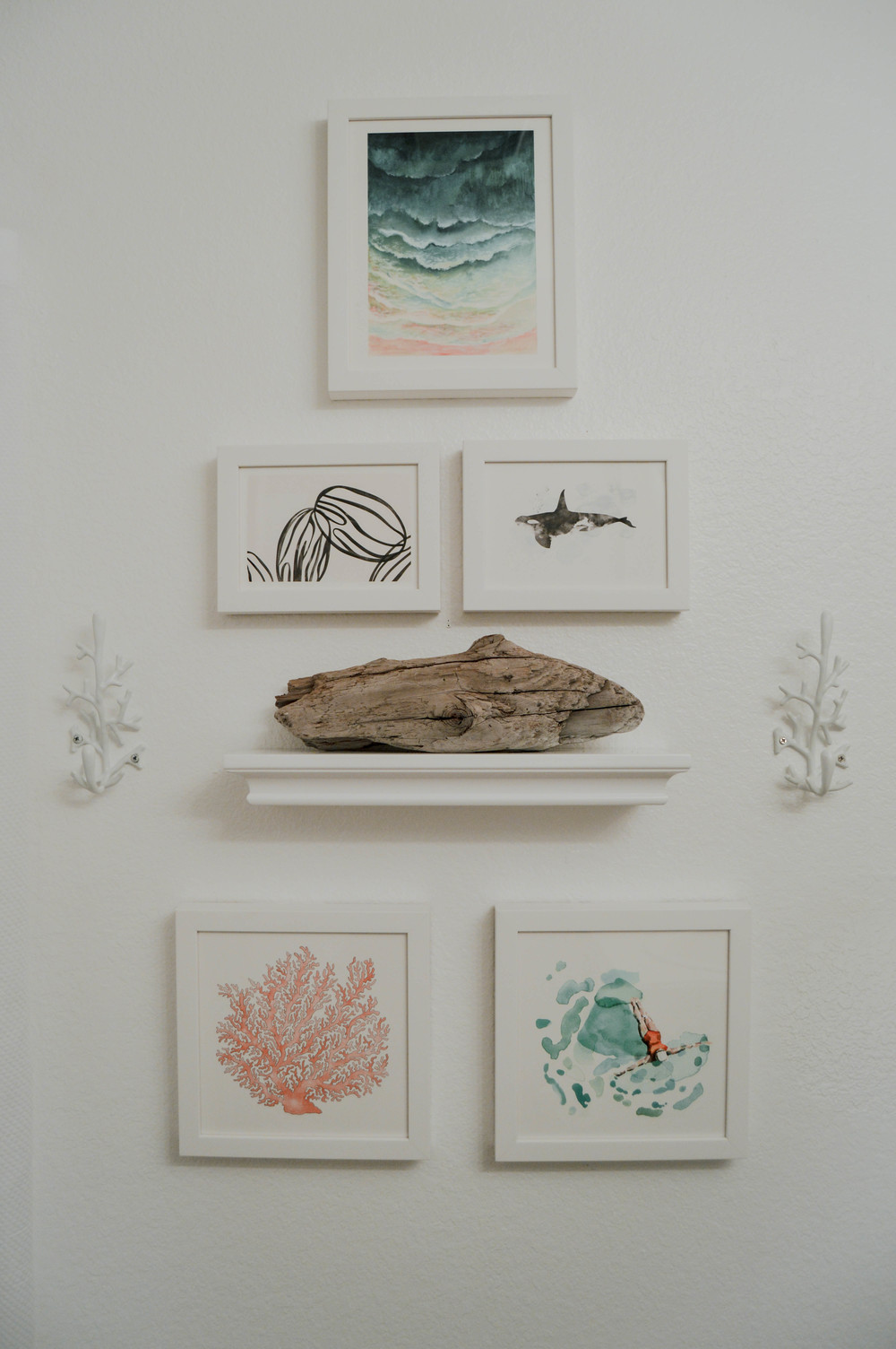 "From Top, Left to Right: ""Ombre Waves"" by Honeybunch Studio, ""Almond Milk"" by Carolyn MacLaren, ""Whale Series Three"" by Shirley Lin Schneider, ""Painted Coral"" by Natalie Groves, & ""Float"" by Betty Hatchett. All prints available right now at Minted.com"