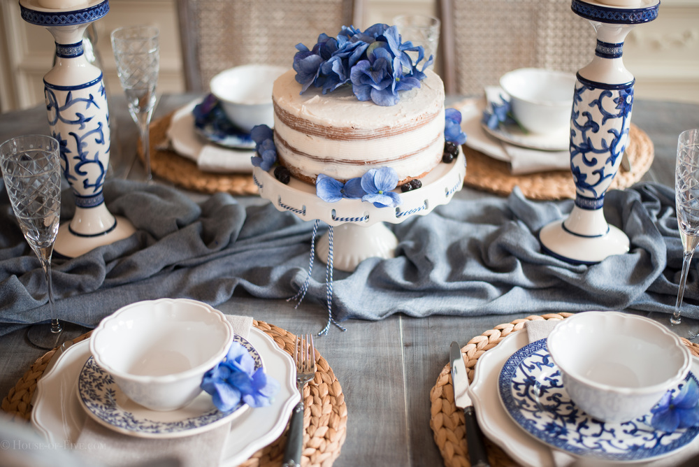 Mothers Day Table Ideas - Blue and White, Naked Cake
