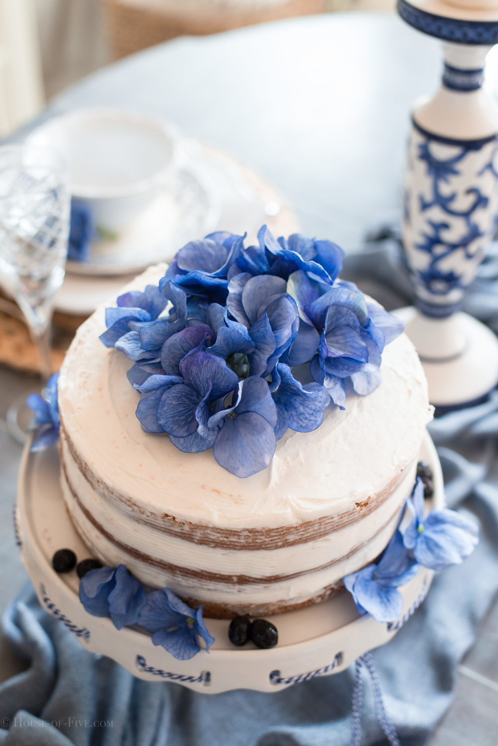 Naked cake with Blue flowers