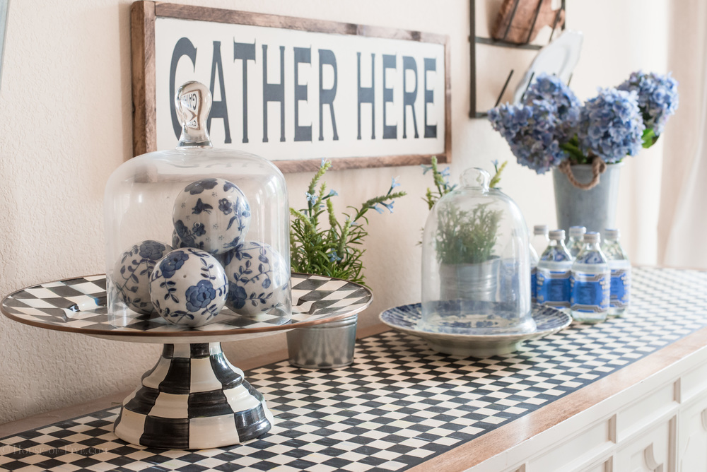 Blue and white Farmhouse buffet table dining room