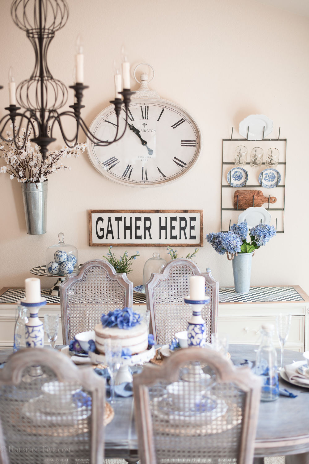 Blue and White dining room table and setting
