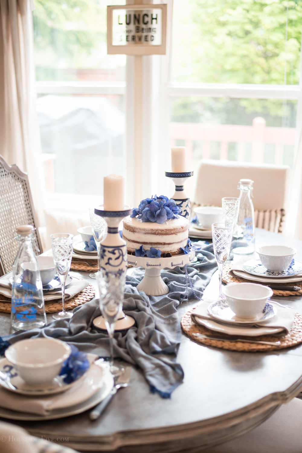 Blue and White dining room tablescape and table design for Mothers Day