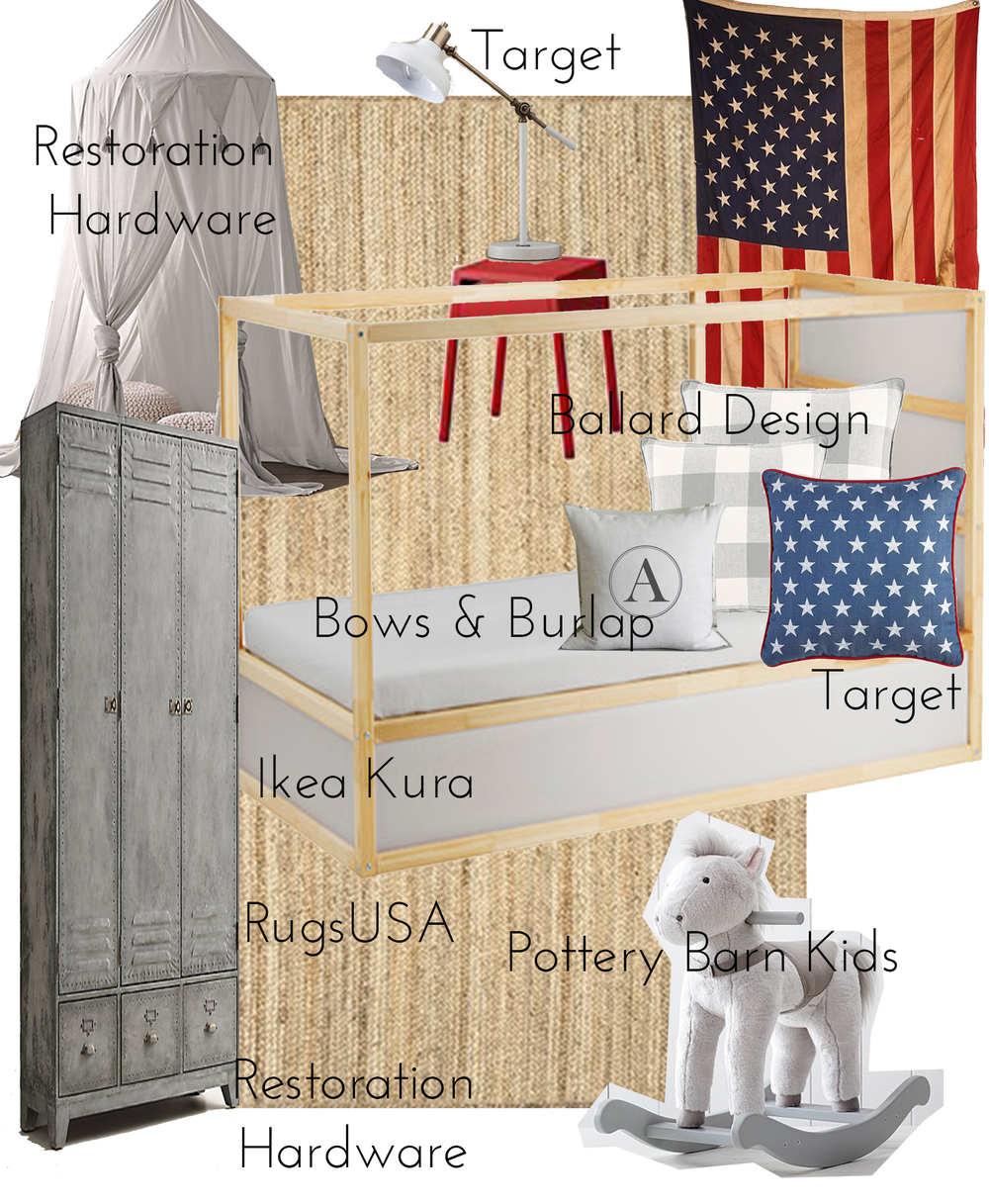 Shared Boys Room Design Board - Vintage American