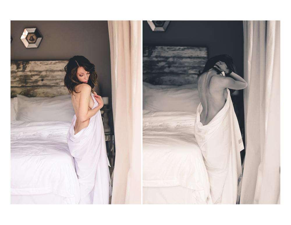 natural boudoir photography white sheet