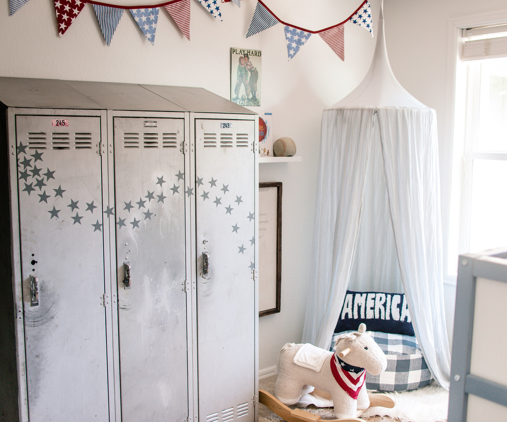Mixing old and new boys room - vintage americana - House of Five Blog