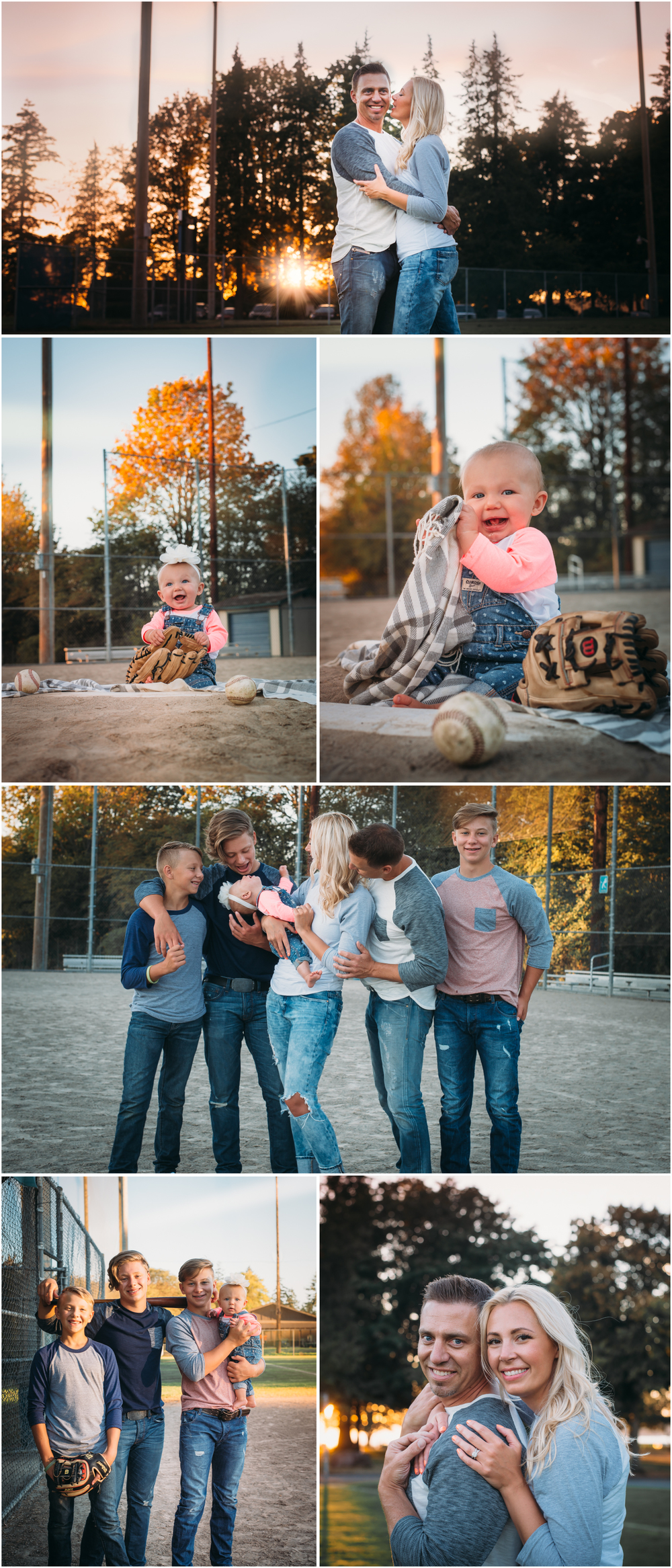 Family Photos at a baseball field - House of Five Blog