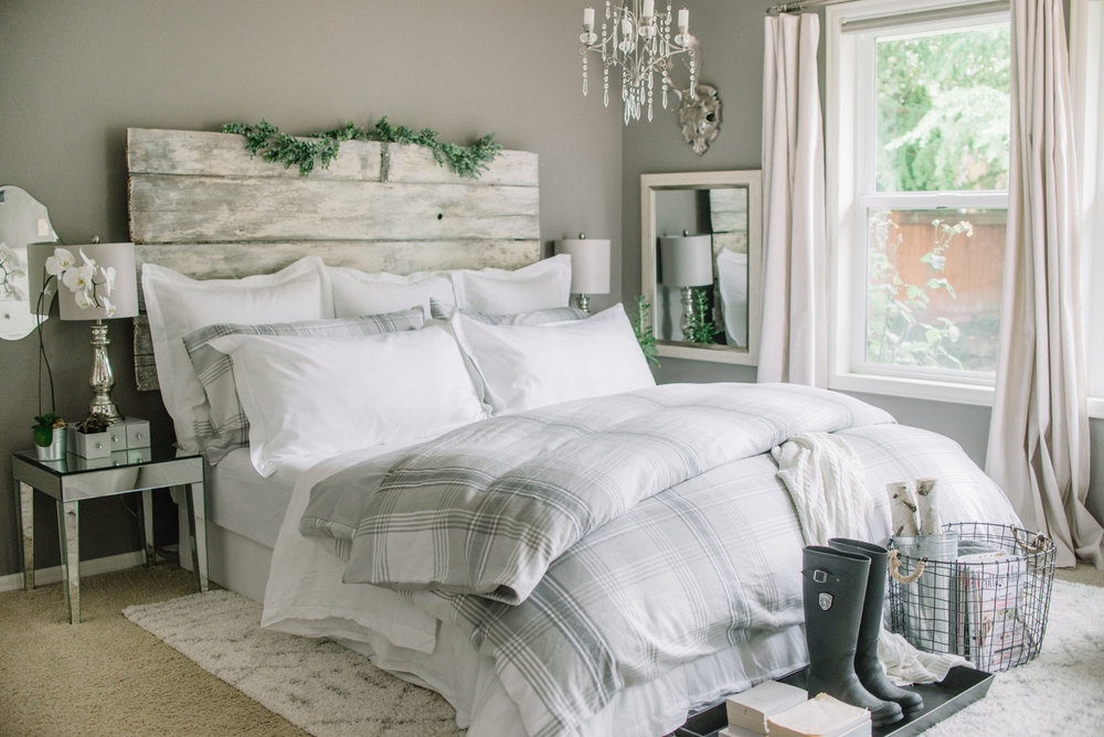 Fall gray and white flannel bedroom