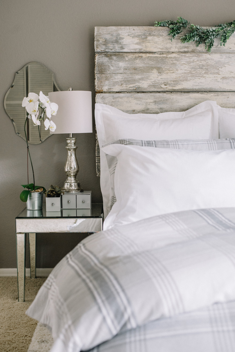Fall flannel - gray and white bedroom - Boll & Branch bedding
