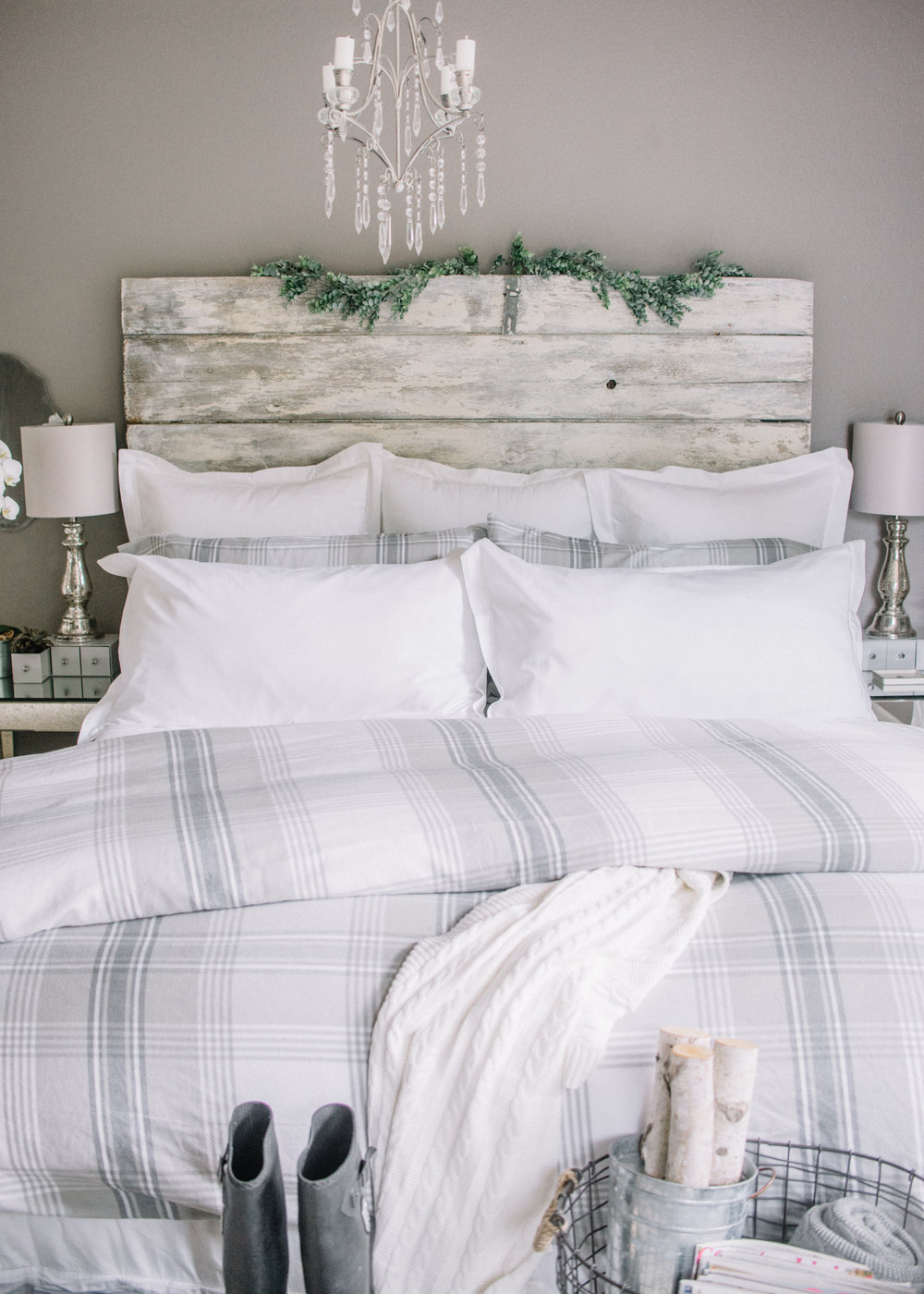 Fall flannel gray and white bedroom - Boll & Branch Bedding