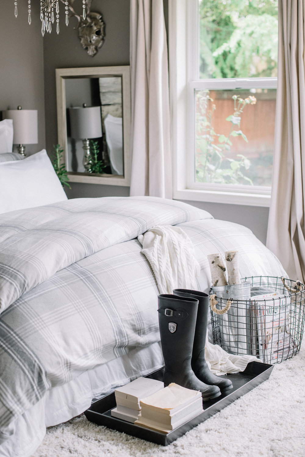 Fall Flannel Gray and White Bedding from Boll & Branch