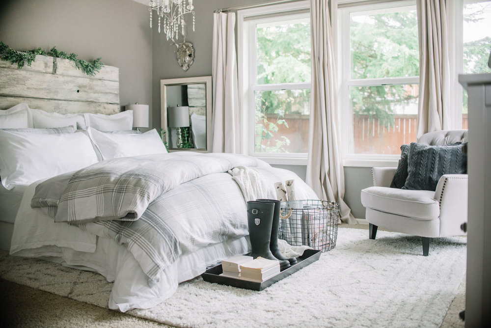 Fall Flannel Gray and white bedroom with Boll & Branch Bedding
