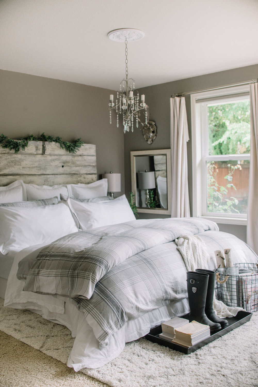 Fall flannel gray and white bedroom Boll & Branch Bedding