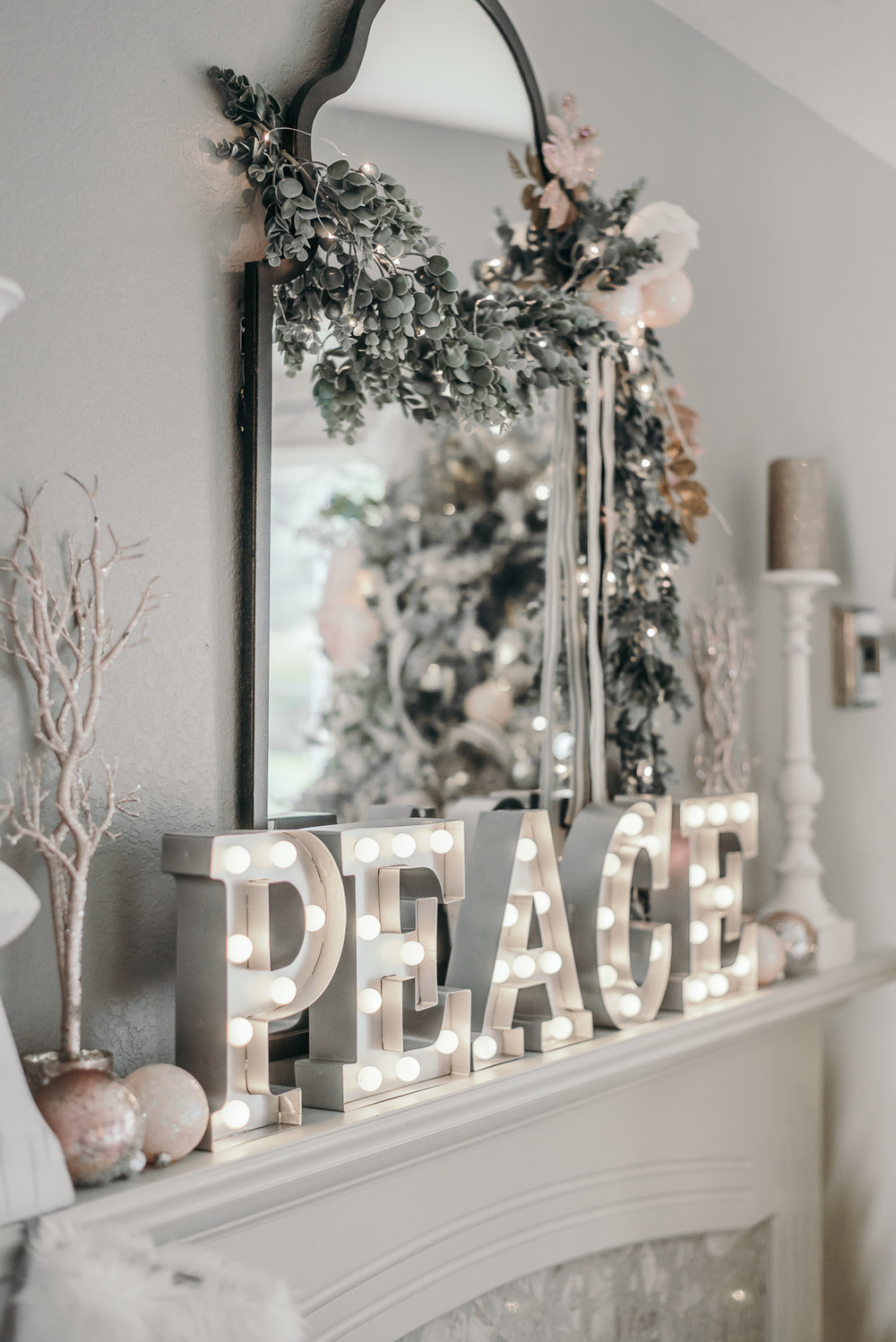 Pink Black and White Floral Christmas Decor 2016 Marquee Letters