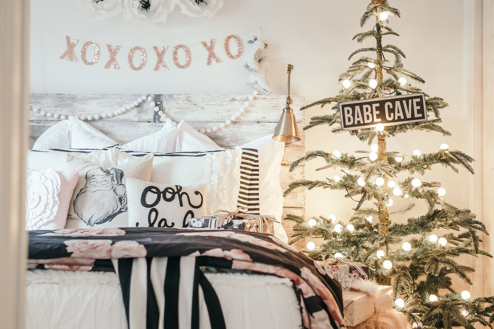 White Christmas Girls Room Barn Door Headboard and Beddy's