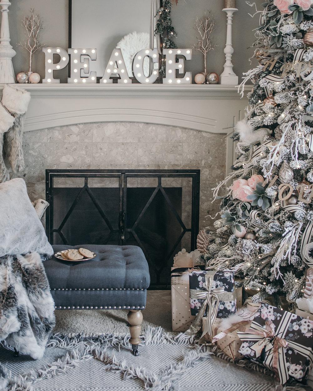 Pink and grey Christmas Home decor 2016
