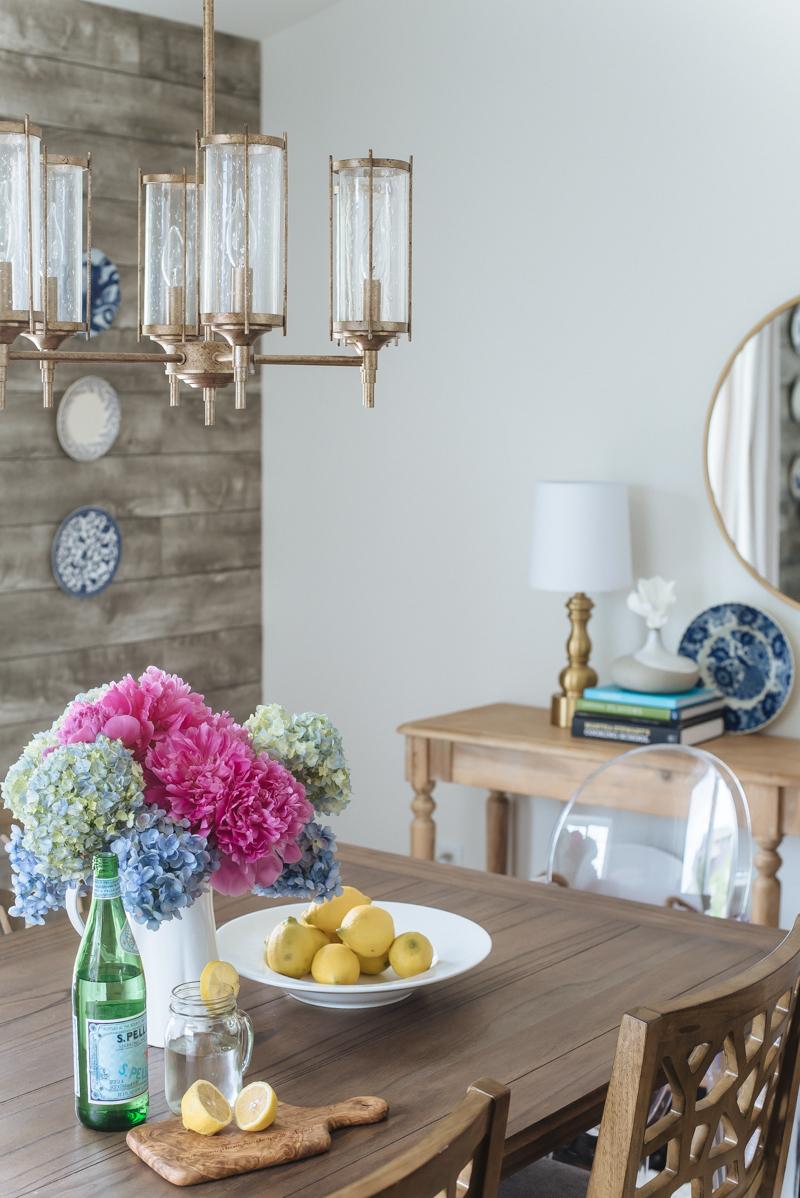 Arhaus Chandelier, Modern Rustic Dining Nook