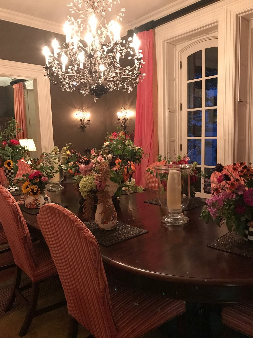 All of our arrangements took rest in the dining room at the E.B. Morgan House - not too shabby if I say so!