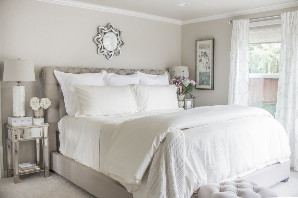 Ivory and White Monochromatic Bedroom with Boll and Branch Bedding
