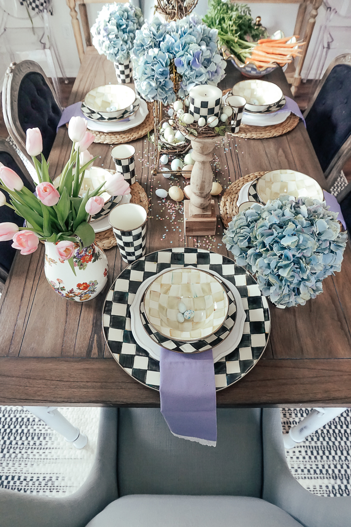 Decorating a spring or Easter table is one of my favorite blog posts to do. I love the excuse to use bunnies and flowers and pastels!