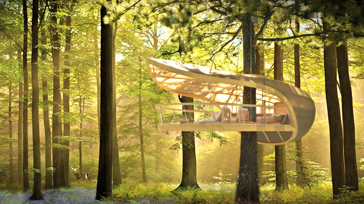 fastcompany :      These Amazing Hanging Hotel Rooms Let Guests Camp In Trees    Inside, this treehouse has all the amenities of a suite at the Hilton. On the outside, all you'll see is nature all around.   Slideshow>  Co.Exist