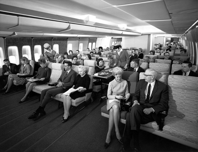 parislemon :      Economy Class Seating on a Pan-Am 747 in the 1960s.     [via  caro ]      Would be interesting to see how much the ticket costs.