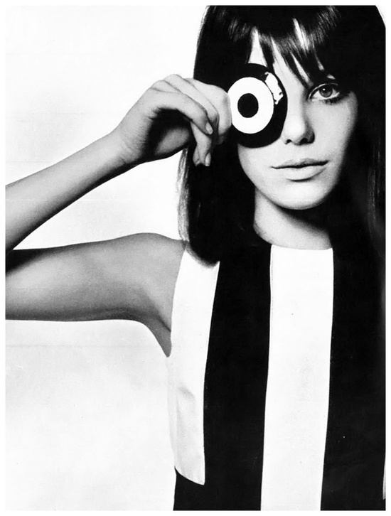 "theswinginsixties :     Jane Birkin photographed by David Bailey for Vogue UK, 1965     Tumbled onto this cool pic which prompted me to queue ""Je T'aime… Moi Non Plus"" by Serge Gainsbourg & Jane Birkin… classic:   http://open.spotify.com/track/4vqUZ9DAunECYbUvo1soed"