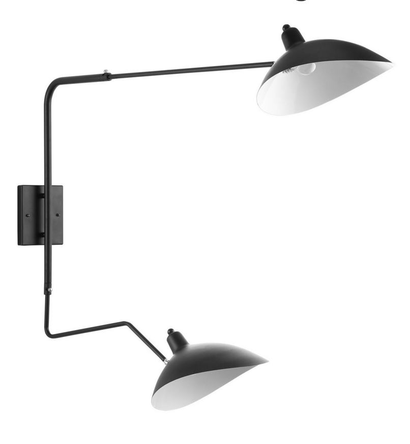 Serge Mouille Style Black Mantis Two-Arm Wall Sconce
