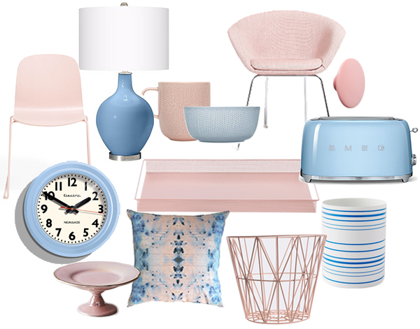 Clockwise: Muuto Pink Visu Chair Wire Frame, $329, Lamps Plus Dusk Blue Ovo Table Lamp, $99.99, Iitttala Tabletop, $36, ABC Home Arper Pale Pink Duna Lounge Chair, $965, Muuto The Dots, $149, West Elm Smeg Toaster, $199.95, Ferm Living Metal Tray, $60,  West Elm Color Stripe Porcelain Hurricanes, $4.99, Ferm Living Large Wire Basket, $70, Eskayel Nairutya Citron Pillow, $139, Anthropologie Pastellar Cupcake Stand, $18, Burke Decor Telectric Clock by Newgate, $80