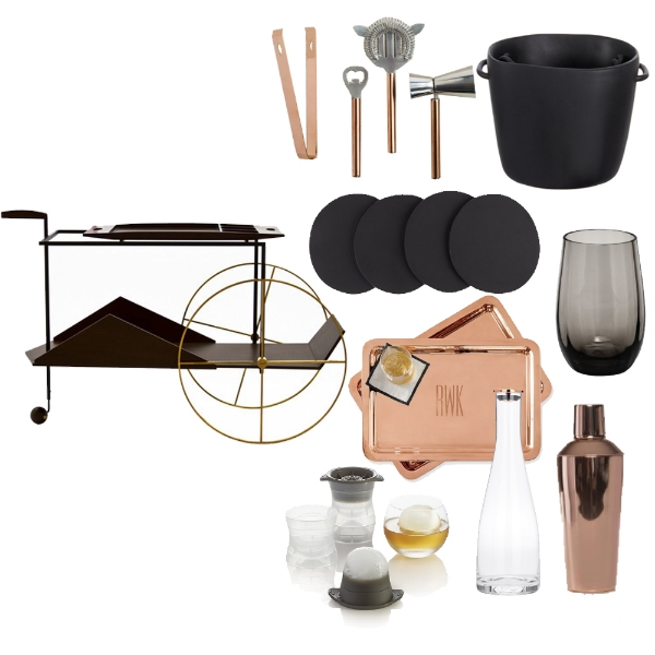 JZ -  Tea Trolley , WEST ELM -  Copper Bar Tools , TINA FREY -  Ice Bucket , TINA FREY -  Coaster Set , MOSER USA -  Optic Highball , RAKUTEN -  Shake 'Em Up Cocktail Shaker , STELTON -  Flow Carafe , WILLIAMS SONOMA -  Silicone Ice Sphere Molds , MARK & GRAHAM -  Copper Tray