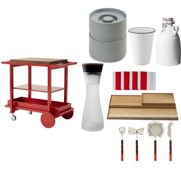 THE NEW TRADITIONALISTS -  Bar Cart No. 1 , THE LACQUER COMPANY -  Lidded Ice Bucket , WILLIAMS SONOMA -  Enameled Tumbler , KAUFMANN-MERCANTILE -  Ceramic Growler , BARNEY'S -  WLS Coasters , MARCH -  Azmaya Oak Trays , WEST ELM -  Globalist Bar Tool Set , LUMM -  Water Carafe Decanter
